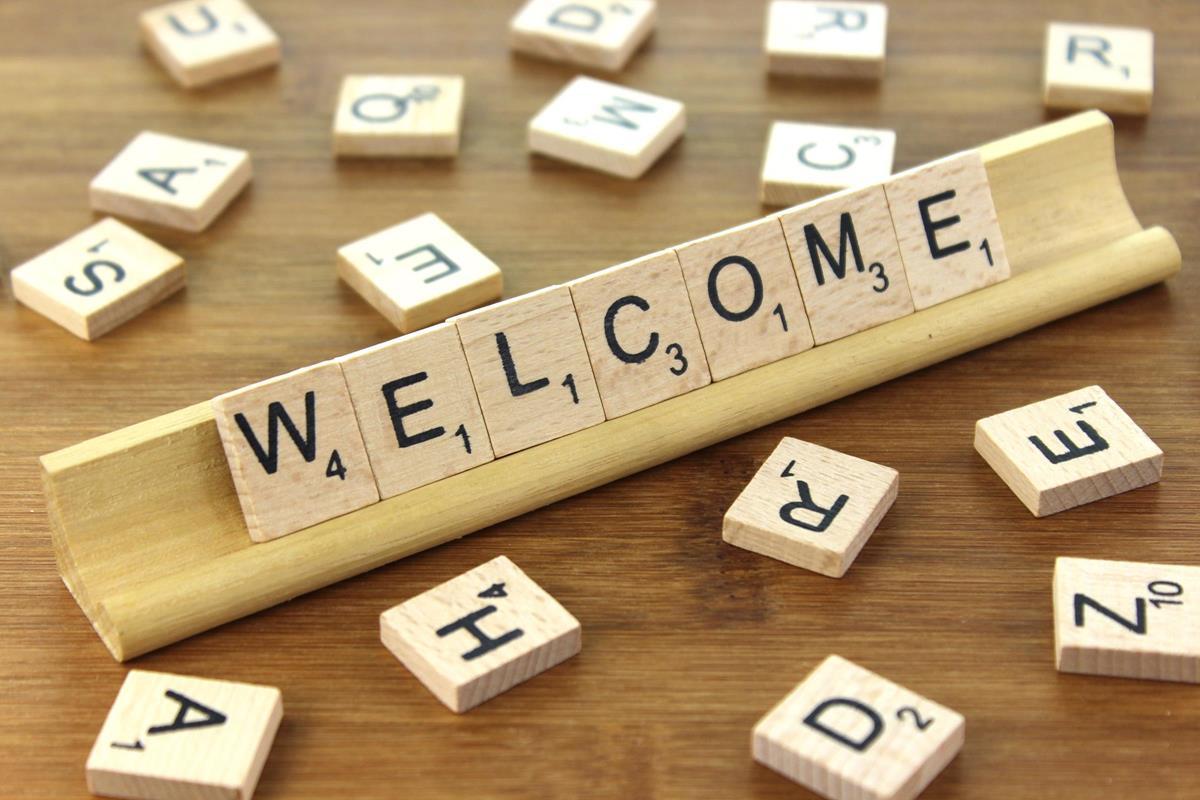 Welcome spelt in scrabble letters